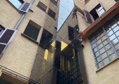 Piattaforma elevatrice a fune struttura in vetro