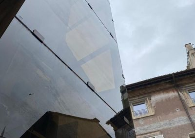 Piattaforma elevatrice vetro e acciaio a scomparsa